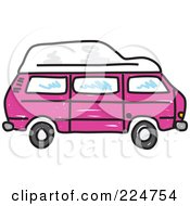 Royalty Free RF Clipart Illustration Of A Pink Camper Van