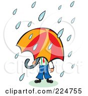 Royalty Free RF Clipart Illustration Of Rain Pouring Down On A Businessman Under An Umbrella by Prawny