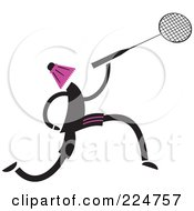 Royalty Free RF Clipart Illustration Of A Person With A Shuttle Cock Head And Badminton Racket