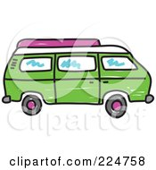 Royalty Free RF Clipart Illustration Of A Green Camper Van