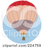 Royalty Free RF Clipart Illustration Of A Red Tan And Gray Hot Air Balloon Over A Blue Circle