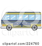 Royalty Free RF Clipart Illustration Of A Blue And Yellow Tourist Bus