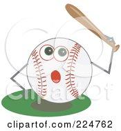 Royalty Free RF Clipart Illustration Of A Baseball Character Holding Up A Bat