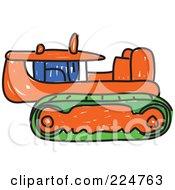 Sketched Orange Caterpillar Bulldozer