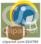 Royalty Free RF Clipart Illustration Of A Football By A Helmet by Prawny