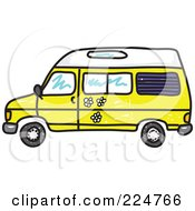 Royalty Free RF Clipart Illustration Of A Yellow Camper Van