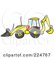 Royalty Free RF Clipart Illustration Of A Sketched Bulldozer In Profile