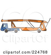 Royalty Free RF Clipart Illustration Of A Blue And Orange Car Transporter Truck