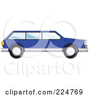Royalty Free RF Clipart Illustration Of A Side View Of A Blue Station Wagon Car