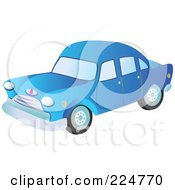 Royalty Free RF Clipart Illustration Of A Blue Vintage Car