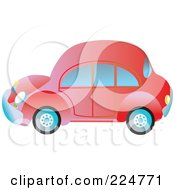 Royalty Free RF Clipart Illustration Of A Side View Of A Red VW Bug