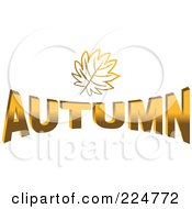 Royalty Free RF Clipart Illustration Of A Golden Leaf Over AUTUMN by Prawny