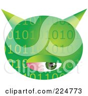 Royalty Free RF Clipart Illustration Of A Green Binary Computer Virus With An Eye