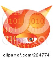 Royalty Free RF Clipart Illustration Of An Orange Binary Computer Virus With An Eye