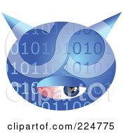 Blue Binary Computer Virus With An Eye