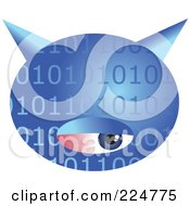 Royalty Free RF Clipart Illustration Of A Blue Binary Computer Virus With An Eye