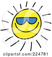 Royalty Free RF Clipart Illustration Of A Cool Sketched Sun Wearing Blue Shades