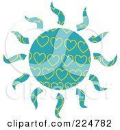Royalty Free RF Clipart Illustration Of A Turquoise And Yellow Heart Patterned Sun
