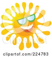 Royalty Free RF Clipart Illustration Of A Happy Gradient Sun Wearing Green Shades