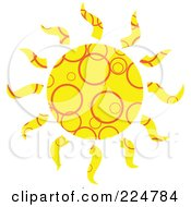 Royalty Free RF Clipart Illustration Of A Yellow Patterned Sun by Prawny