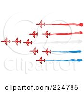 Royalty Free RF Clipart Illustration Of A Team Of Flying Jets by Prawny