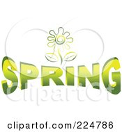 Royalty Free RF Clipart Illustration Of A Green Flower Over SPRING by Prawny