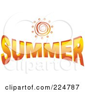 Royalty Free RF Clipart Illustration Of A Spiral Sun Over The Word Summer