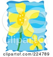 Royalty Free RF Clipart Illustration Of Two Yellow Flowers Over Blue