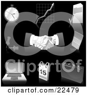Clipart Illustration Of A Collection Of Gray And Silver Pocketwatch Graph Letter Push Pins Handshakes Calculator Laptop Computer Calendar And Briefcase Icons Over Black