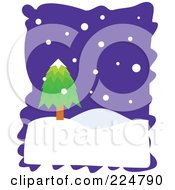 Royalty Free RF Clipart Illustration Of A Lone Evergreen With Snow