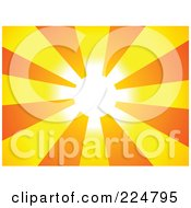 Royalty Free RF Clipart Illustration Of A Sunray Background Of Orange And Yellow And A Bright Center by Prawny