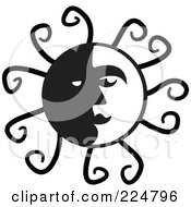 Royalty Free RF Clipart Illustration Of A Black And White Sun Face With Spirals by Prawny