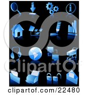 Clipart Illustration Of A Collection Of Blue And White Search Download Information Home Page Music Connectivity Shopping Printing Security And Email Web And Computer Icons Over Black