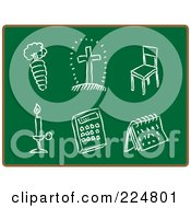 Royalty Free RF Clipart Illustration Of A Carrot Cross Chair Candle Calculator And Calendar Sketched In Chalk On A Chalkboard