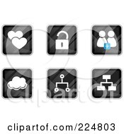 Royalty Free RF Clipart Illustration Of A Digital Collage Of Black Square Heart Padlock Chat Cloud And Network App Icons by Qiun