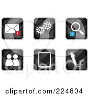 Royalty Free RF Clipart Illustration Of A Digital Collage Of Black Square Email Gear Zoom Chat Tablet And Pen App Icons