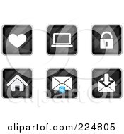Royalty Free RF Clipart Illustration Of A Digital Collage Of Black Square Heart Laptop Padlock House And Email App Icons by Qiun #COLLC224805-0141