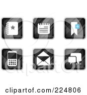 Royalty Free RF Clipart Illustration Of A Digital Collage Of Black Square Notepad Contact Calculator Email And Messenger App Icons