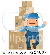 Royalty Free RF Clipart Illustration Of A Shipping Warehouse Man Leaning Against Packaged Boxes