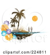 Royalty Free RF Clipart Illustration Of A Silhouetted Couple Holding Hands On A Grungy Beach With Tropical Flowers