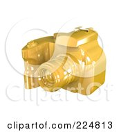 Royalty Free RF Clipart Illustration Of A 3d Gold Dslr Camera Angle 3
