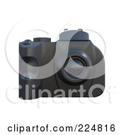 Royalty Free RF Clipart Illustration Of A 3d Black Rubber Dslr Camera 1