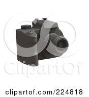 Royalty Free RF Clipart Illustration Of A 3d Black Rubber Dslr Camera 2