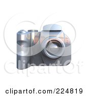 Royalty Free RF Clipart Illustration Of A 3d Silver Dslr Camera 1