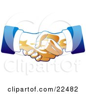 Clipart Illustration Of Two Hands Of Businessmen Engaged In A Deal Binding Handshake In Blue And Tan Tones by Tonis Pan