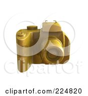 Royalty Free RF Clipart Illustration Of A 3d Gold Dslr Camera Angle 1