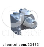Royalty Free RF Clipart Illustration Of A 3d Silver Dslr Camera 2