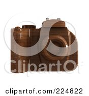Royalty Free RF Clipart Illustration Of A 3d Wooden Dslr Camera