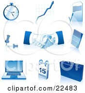 Clipart Illustration Of A Collection Of Blue And White Pocketwatch Graph Letter Push Pins Handshakes Calculator Laptop Computer Calendar And Briefcase Icons Over White