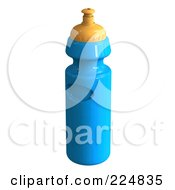 Royalty Free RF Clipart Illustration Of A 3d Rendered Blue Water Bottle